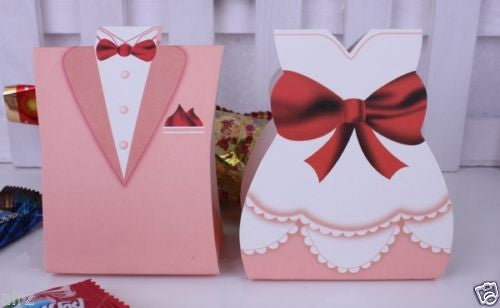 100Pcs Pink TUXEDO DRESS Bridal Groom Wedding Favors Candy Paper Gift Box