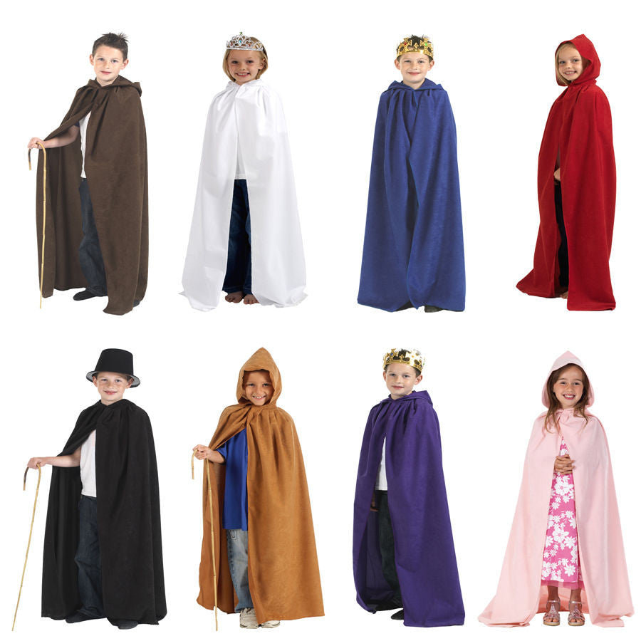 Children's Boys Girls Kids Cloak Robe Cape Hood Shepherds Halloween Fancy Dress