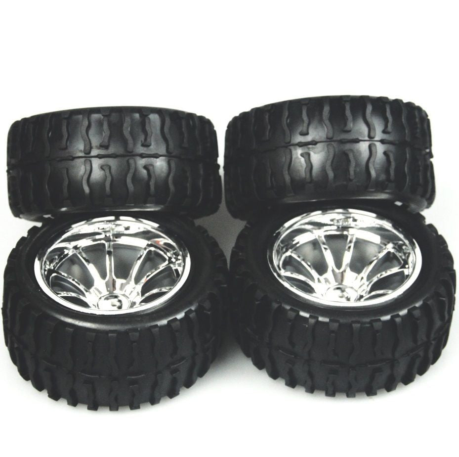 4 PCS Wheel Rim & Tires Redcat HSP 1:10 Monster truck RC Car 12mm Hub 88055
