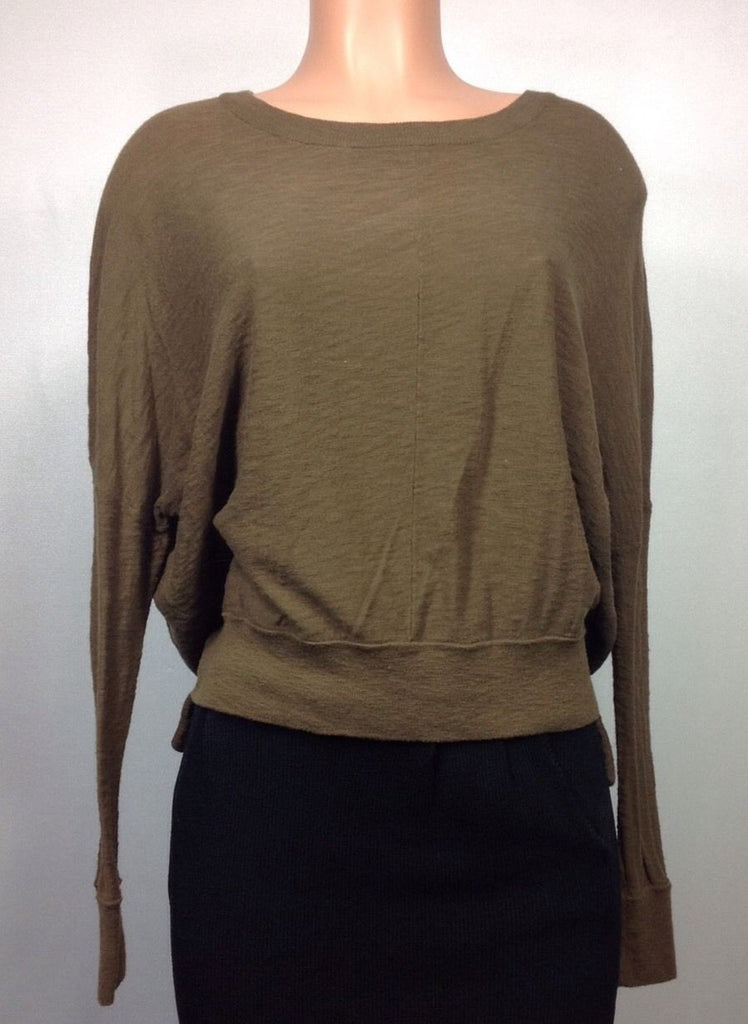VINCE Olive Green 100% Cotton Long Sleeve Oversized Hi-lo Sweater Knit Top
