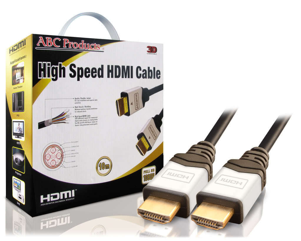 10M GOLD HDMI TO HDMI CABLE AUDIO VISUAL CONNECTION LEAD V1.4 1080P TV HDTV 3D