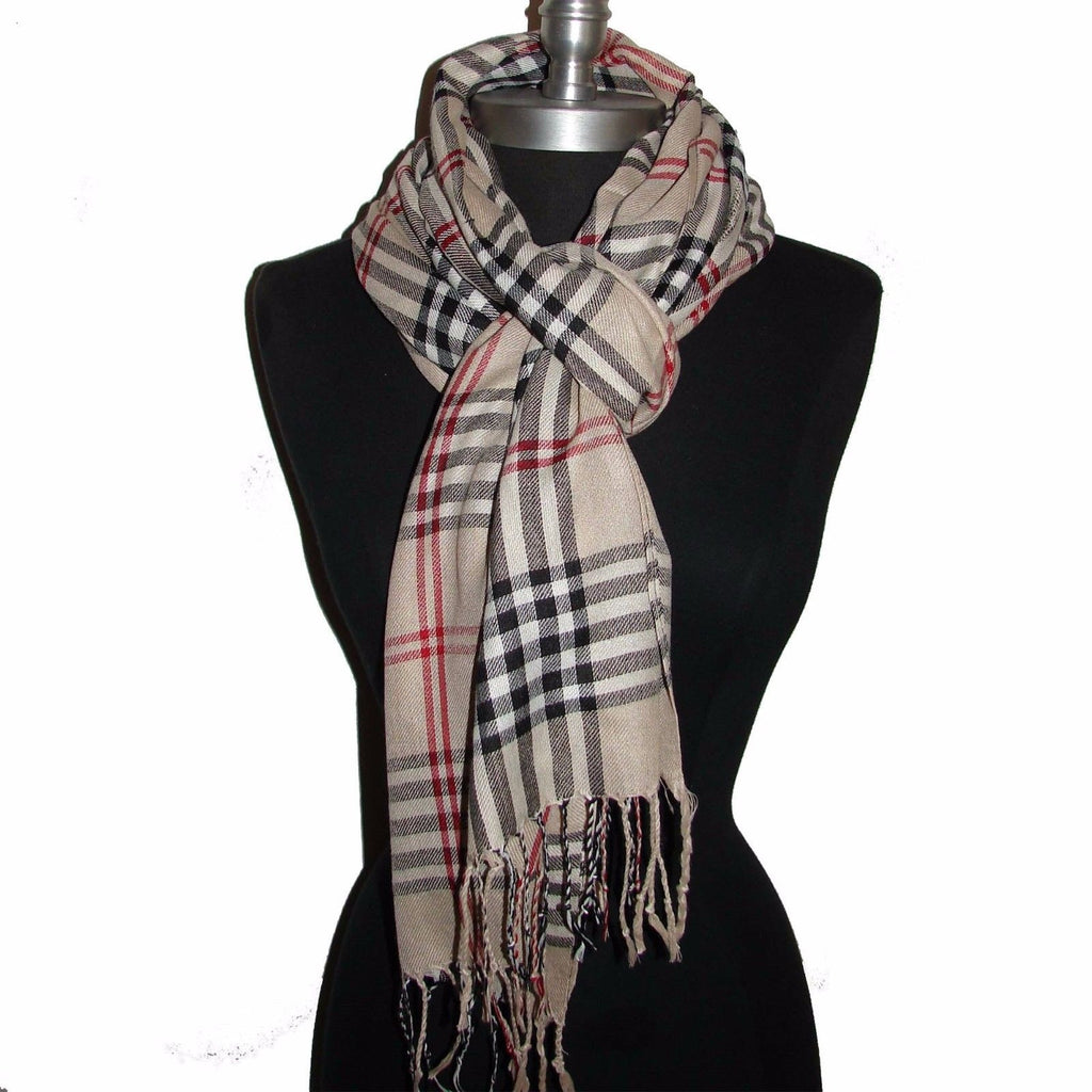 PLAID/CHECK Beige pashmina long soft scarf stole wrap shawl cape
