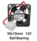 30mm 10mm New Case Fan 1.8CFM 12V DC Ball Brg 2 Pin PC CPU Computer Cooling 336