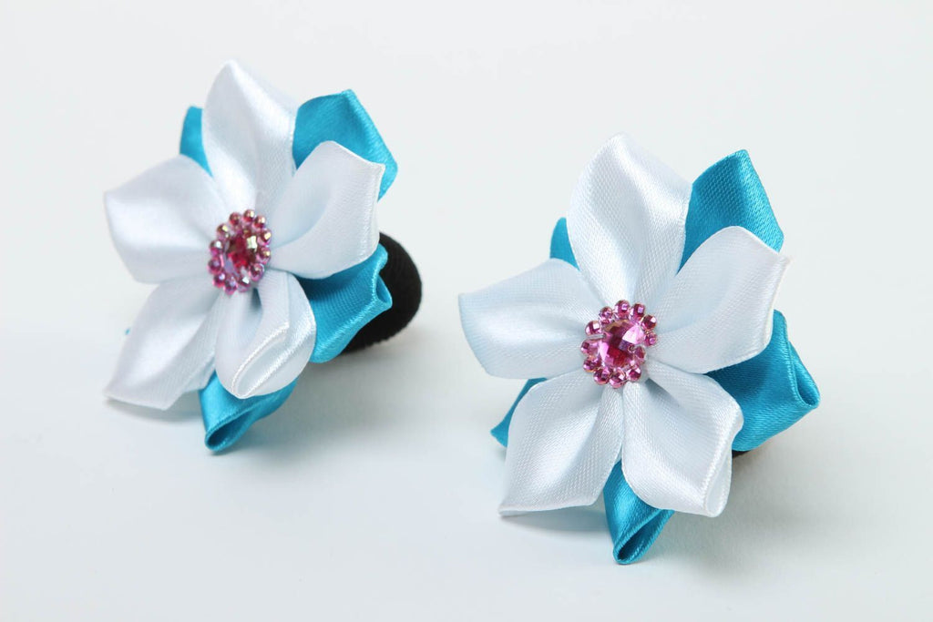 Handmade hair accessories kanzashi flowers hair ties flower hair accessories