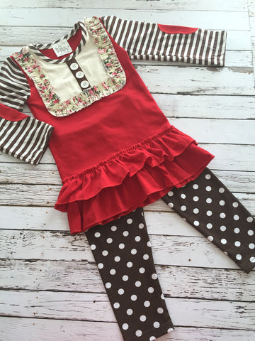 12-18M Baby Girls Boutique Outfit Clothes Long Sleeve Shirt with Leggings