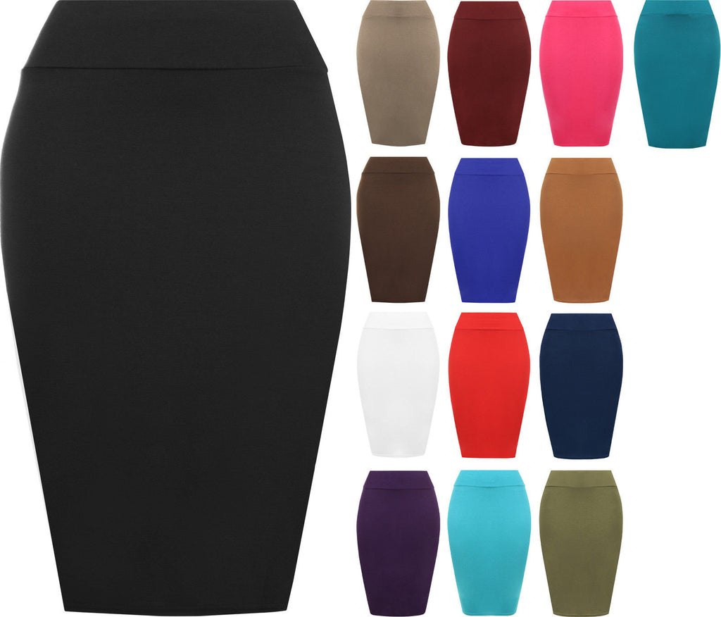 Womens Plain Bodycon Pencil High Waisted Ladies Stretch Midi Skirt 8 - 14