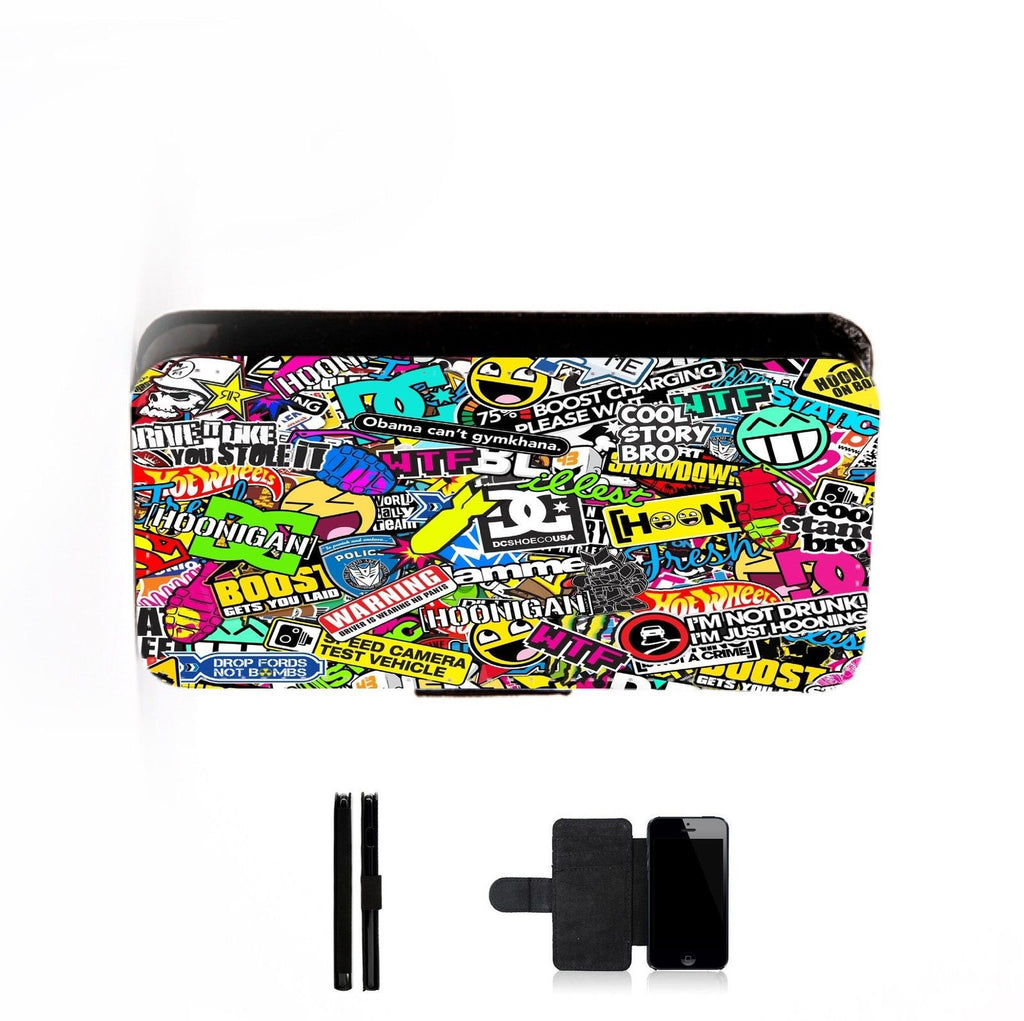 Stickerbomb Printed Faux Leather Flip Phone Case Cover Wallet