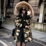 Womens Camouflage Duck Down Cotton Long Jacket Coat Trench Outwear Padded Parka