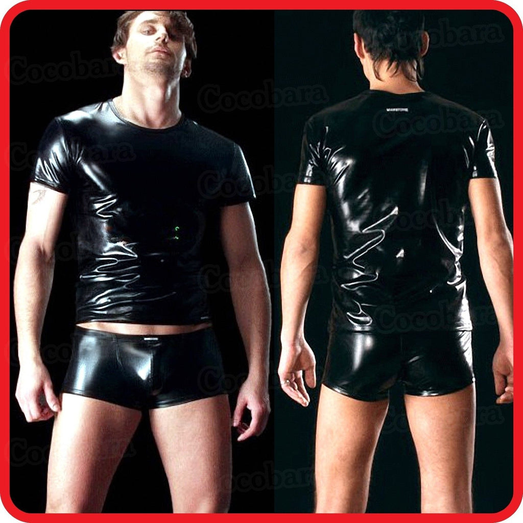Mouse over image to zoom MEN'S BLACK LATEX/LEATHER METALLIC LOOK 2 PIECE T-SHIRT & SHORTS / BODY SUITE