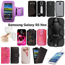 Tempered Glass/Leather Wallet Flip/Silicone Gel Case For Samsung Galaxy S5 Neo