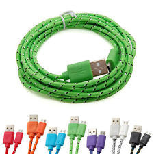 for Samsung Galaxy Micro USB 1M/2M/3M Sync Data Charger Cable Cord Hemp Rope