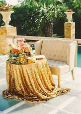 72'' round Gold Sequin Tablecloth/Cover For Wedding/Event/Party/Banquet