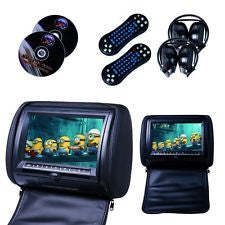 "2PC 7""CAR HEADREST Dual MONITORS DVD PLAYER Game Controller IR headphone Black"