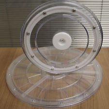 "LARGE 12"" MEDIUM 9"" ACRYLIC ROTATING LAZY SUSAN TURNTABLE SERVING PLATE DISPLAY"