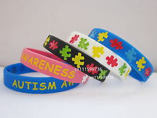 AUTISM AWARENESS Silicone Debossed Filled in Colour Wristband Bracelet
