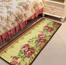 Extra Long Home Floor Mat Rug Bath Mat Door Carpet Yellow Red Flower 175*45CM