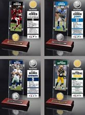 Choose NFL Player Ticket & Minted Bronze or Metal Medallion Coin Acrylic Desktop