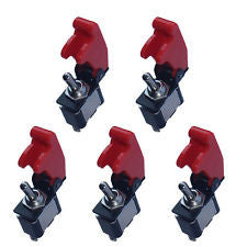 5 X 12V 20A Red Cover Rocker Toggle Switch SPST ON/OFF Car Truck Boat 2Pin