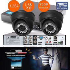 4 Channel HDMI 960H CCTV 2x 700TVL Camera Security Recorder DVR Motion Detection