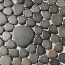 gray ceramic pebble mosaic tile kitchen backsplash garden balcony floor wall
