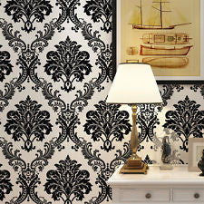 Vintage Luxury Black Damask on White Textured Embossed Flocking Wallpaper Roll