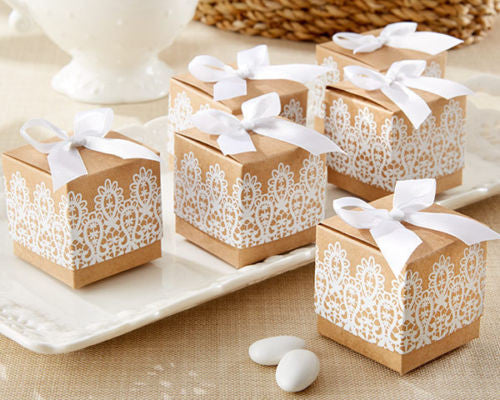 24 Rustic & Lace Kate Aspen Gold White Kraft Paper Party Wedding Favor Box