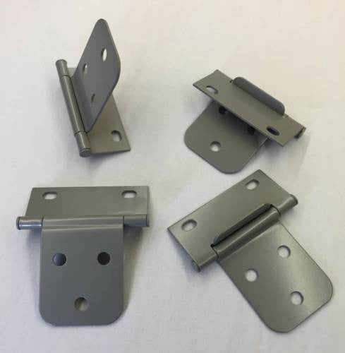 "2-3/8"" Non-Mortise Gray Metal Cabinet Door Hinge, Qty 8"