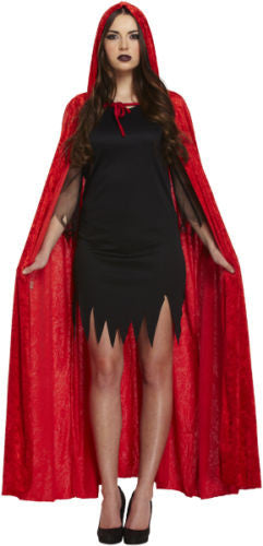 Red Velvet Hooded Devil Vampire Cape Cloak Halloween Fancy Dress