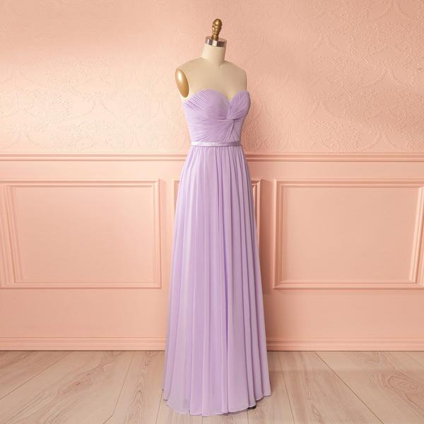 Lavender Sweetheart Chiffon Floor Length Bridesmaid Dress