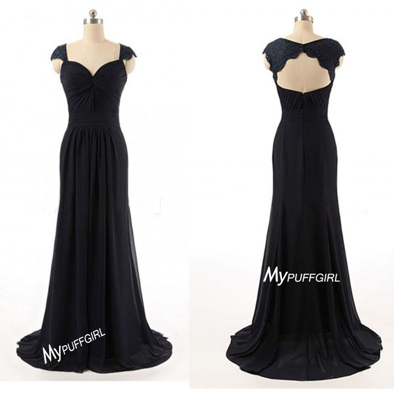 Black Cap Sleeves Chiffon Long Bridesmaid Gown