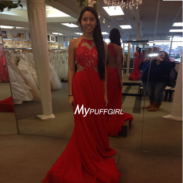 1343632384da Red Halter Cut Out Waist Prom Dress , Lace Appliques Bodice Gown With Open  Back