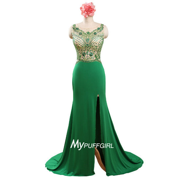 Green Fitted Illusion Side Slit Prom Dress With Sheer Crystals Bodice And Back