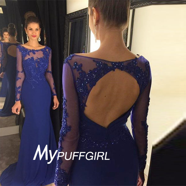 Royal Blue Fitted Sheer Long Sleeves Lace Appliques Formal Gown With Back Out