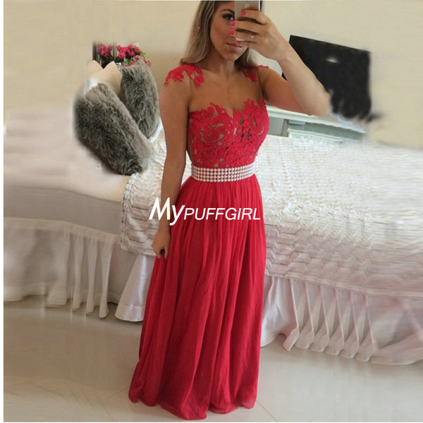 Red Chiffon Formal Gown , Prom Dress With Sheer Back And Pearls, Lace Appliques Bodice