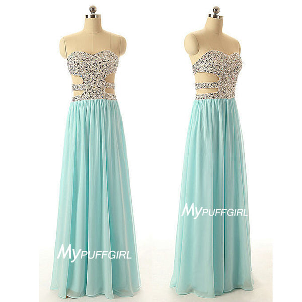 Ice Blue Sweetheart Crystals Bodice Prom Dress With Cut Out Waist And Back