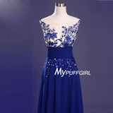 Royal Blue Illusion Floral Appliques Bodice Prom Dress With Keyhole Back