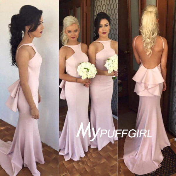 Pink Satin High Halter Open Back Mermaid Bridesmaid Dress ,Formal Gown