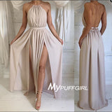 Sexy Halter Silk Satin High Slit  Maxi Long Formal Gown With Open Back