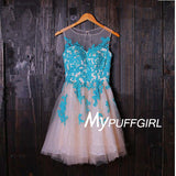 Nude Tulle Illusion Cocktail Dress With With Turquoise Lace Appliques
