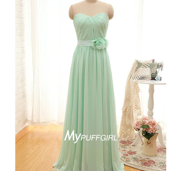 Mint Green Strapless Chiffon Long Bridesmaid Dress With Draped Bodice