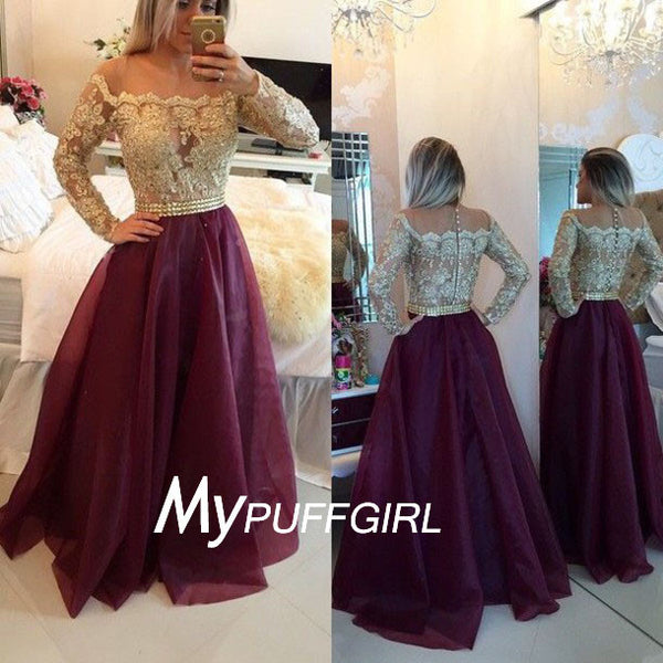 Burgundy Off The Shoulder Prom Dress ,Long Sleeves Gown With Lace Appliques