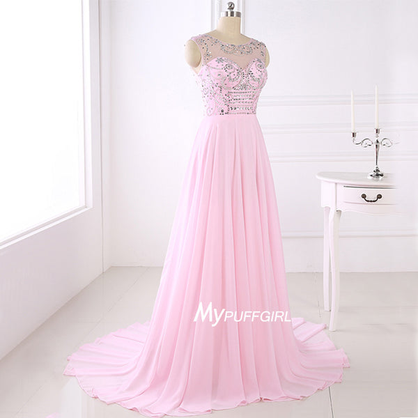 Pink Illusion Beaded Chiffon Prom Dress , Homecoming Dress With Sweep Train