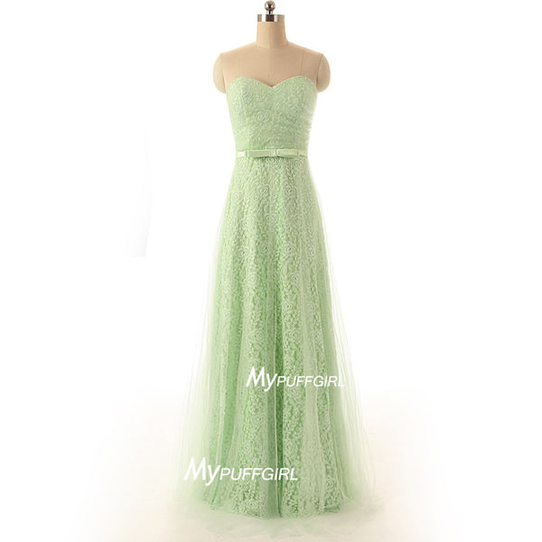 Mint Green Sweetheart Lace A Line Prom Gown , Homecoming Dress