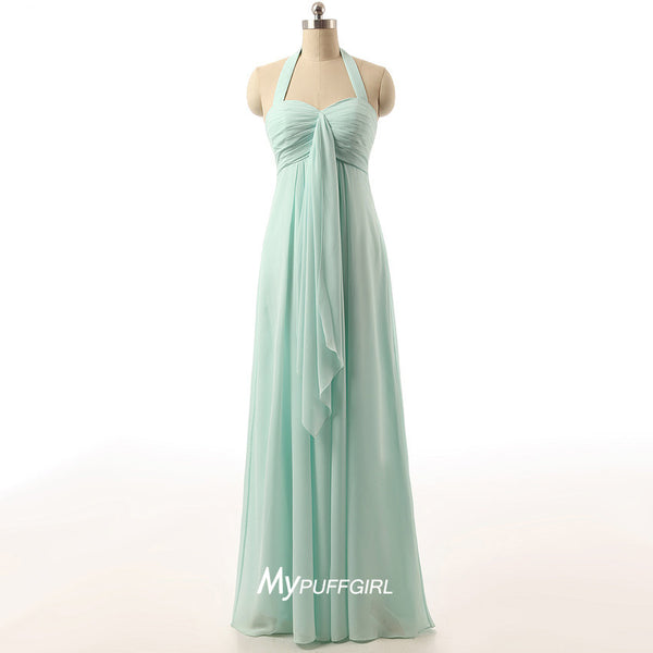 Light Green Sweetheart Halter Chiffon Empire Long Bridesmaid Gown