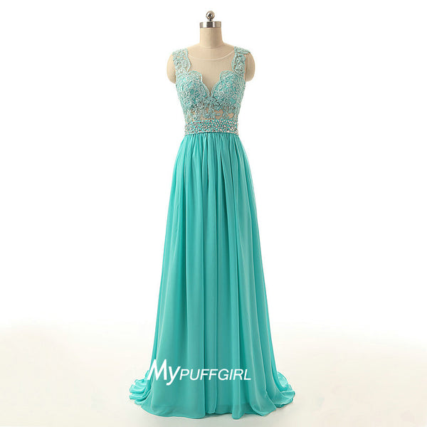 Mint Illusion Prom Dress, Homecoming Dress With Lace Appliques Bodice , Sheer Back