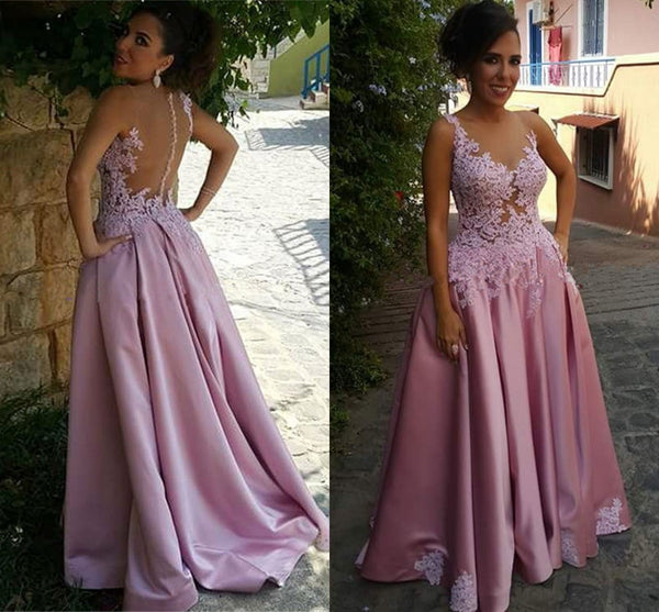 Pink Illusion Prom Dress, Sheer Back Homecoming Dress With Lace Appliques