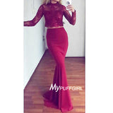 Burgundy High Neck Two Piece Long Sleeves Mermaid Prom Gown With Appliques