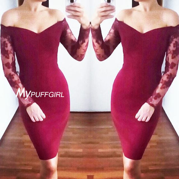 Fitted Burgundy Off The Shoulder Short Party Dress With Sheer Long Sleeves