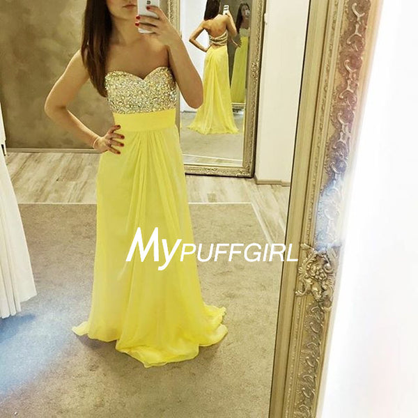 Yellow Beaded Sweetheart Chiffon Long Prom Dress With Cut Out Back