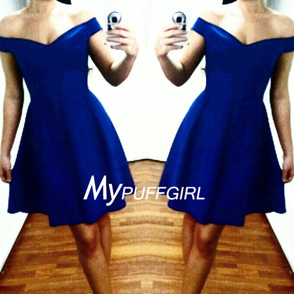 Royal Blue Off The Shoulder Satin Short Party Dress, Homecoming Dress